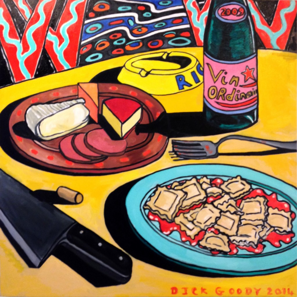Still Life with Cheese & Ravioli  36 X 36 Oil on Canvas - Courtesy of the artist and N'Namdi Center for Contemporary Arts