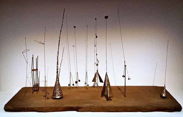 MCA4 wire sculptures on wood