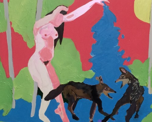 Image 2 Woman Bathing Two Jackals 2015 Oil on Panel