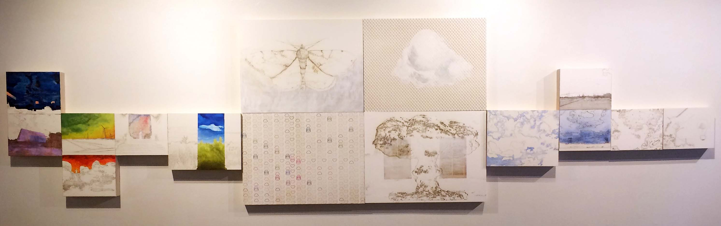 Image 1 Vagner Whitehead Computing Clouds 2015 Laser etching collage and acrylic on panel