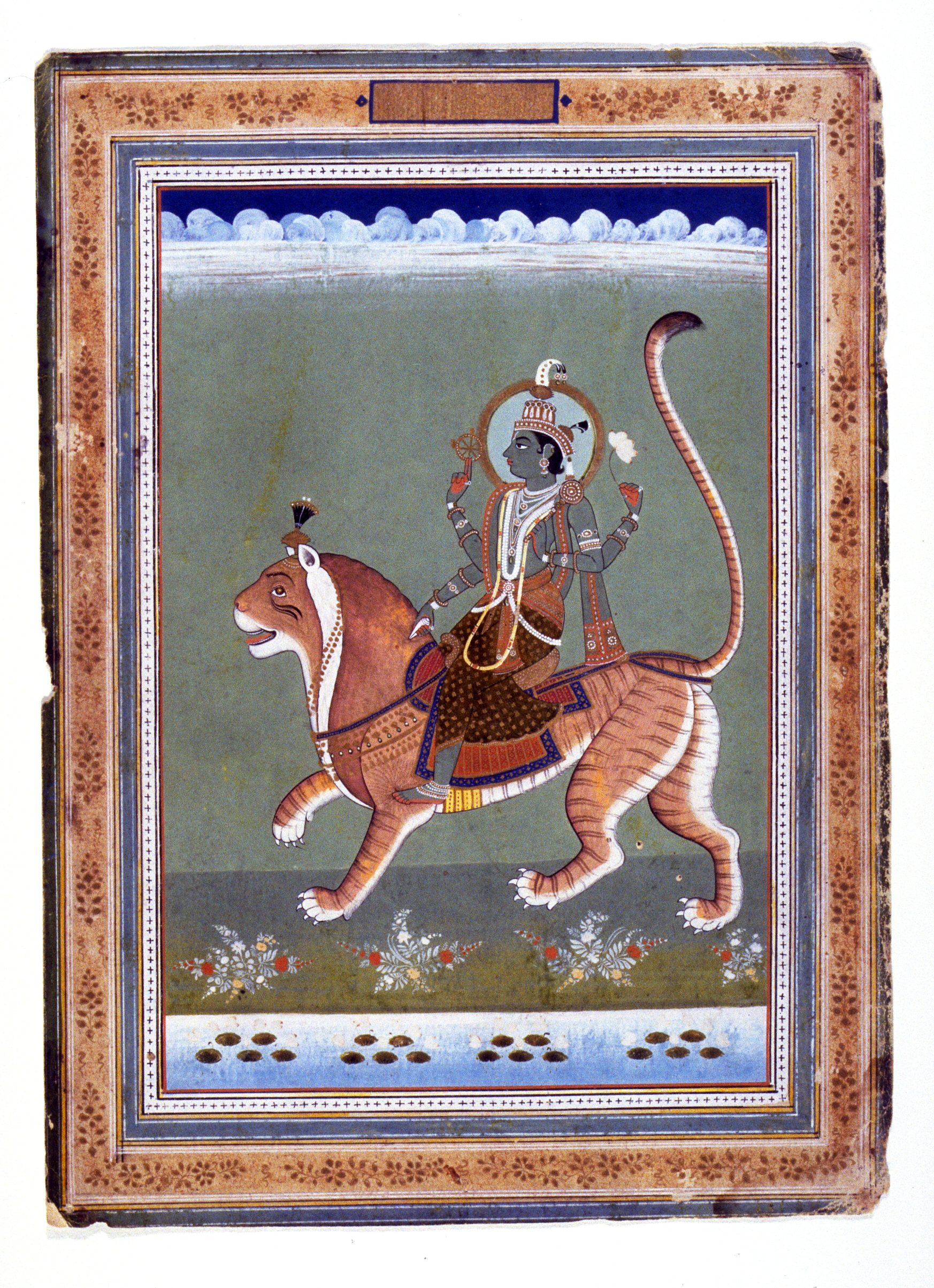 Image 4 Page from an Indian zodiac manuscript, Figure Mounted on a Tiger, possibly Saturn, India, Rajasthan, Jaipur school circa 1840, ink, opaque watercolor and gold on paper