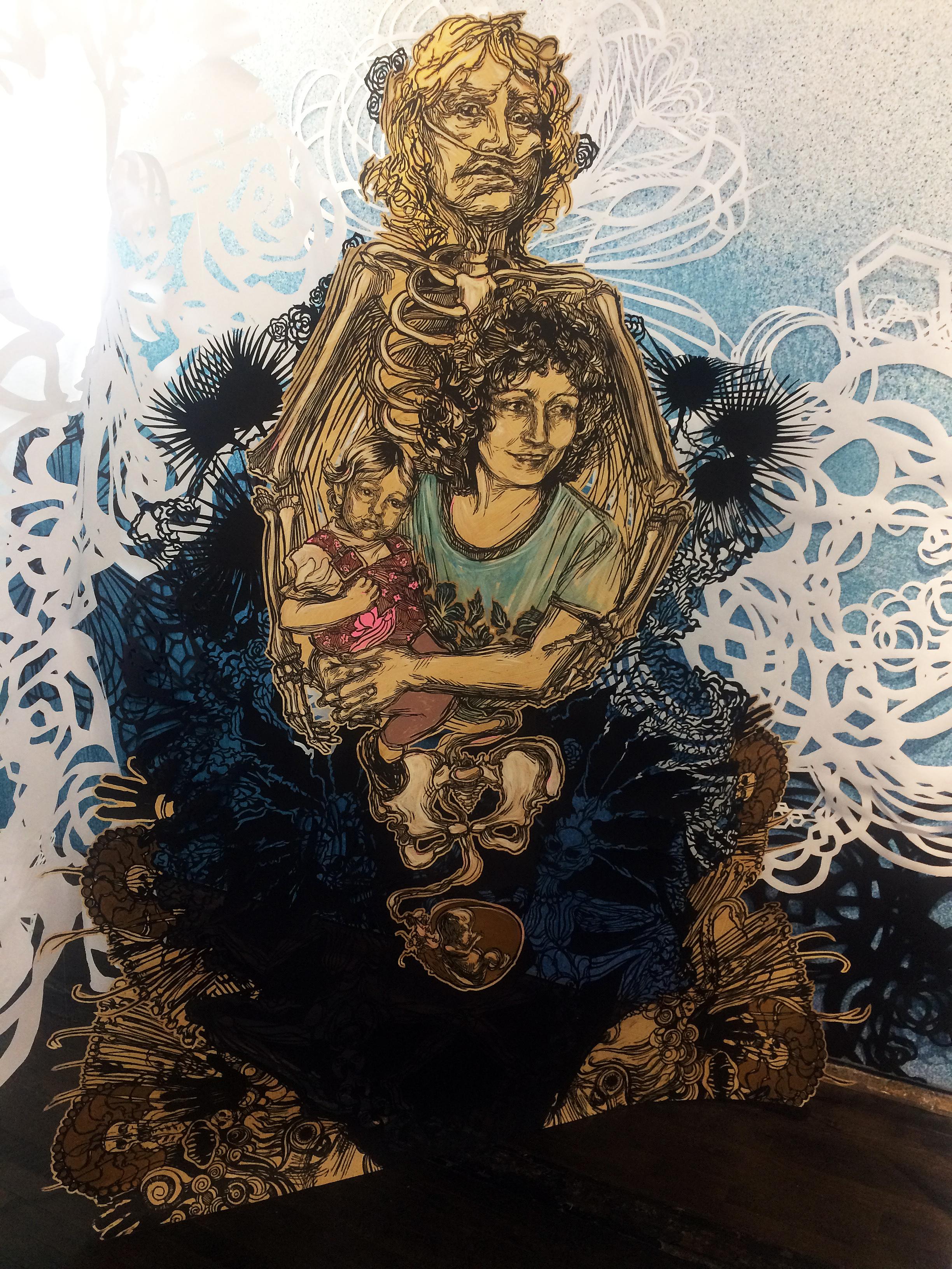 image-2-swoon-memento-mori-2016-block-print-on-hand-cut-mylar-edition-3-of-12-84-x-67-in